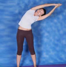 sideways bending using both arms konasana
