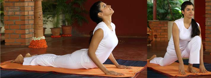 Do yoga postures with a smile