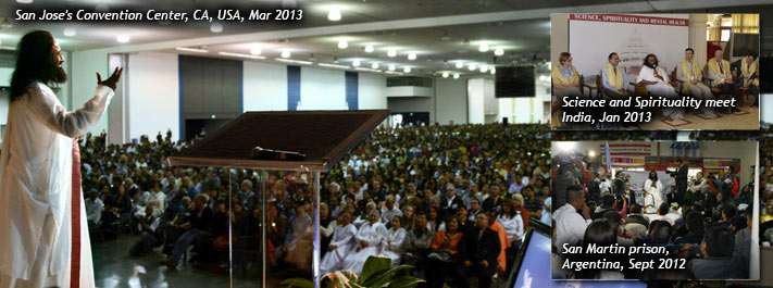 On a mission: Sri Sri's aim is to see a stress-free, violence-free world. He rea