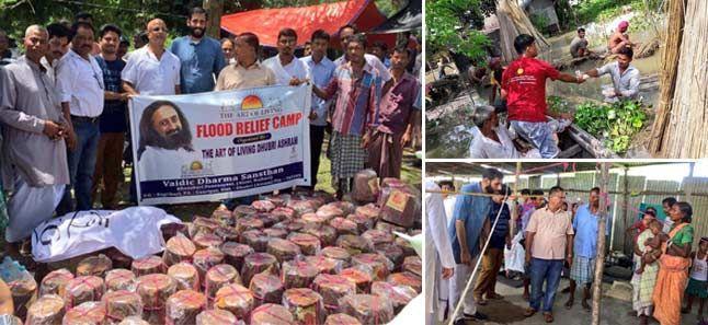 assam flood relief work by art of living