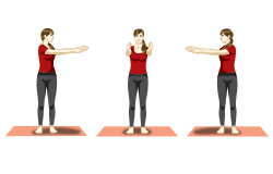 Katichakrasana (Standing spinal twist) yoga posture for seniors
