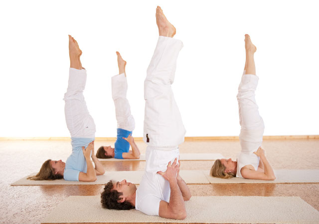 group doing Sarvangasana image