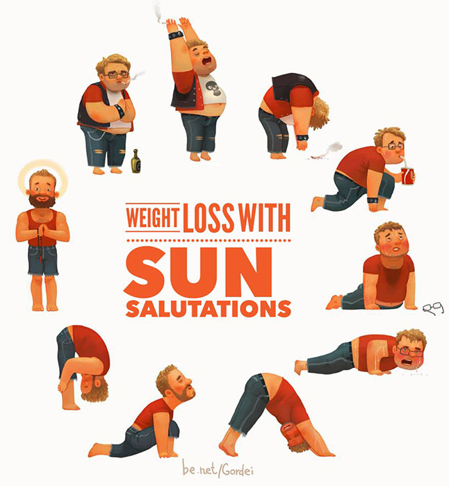 Sun Salutation Surya Namaskar Yoga Weight Loss Helps Reduce