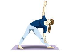 Trikonasana (Triangle Pose) Yoga posture for seniors