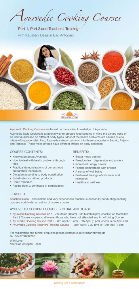 Ayurvedic Cooking Courses The Art Of Living Germany