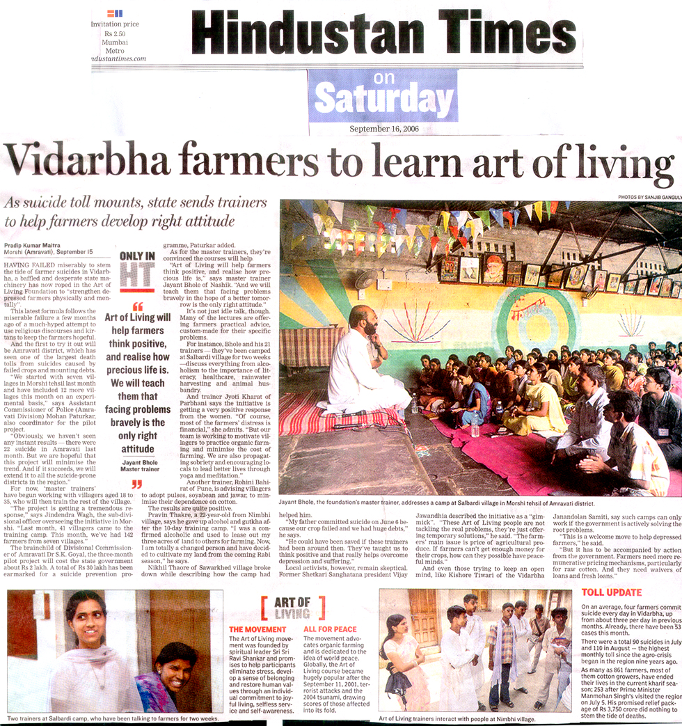 Vidarbha Farmers To Learn Art Of Living The Art Of Living Global
